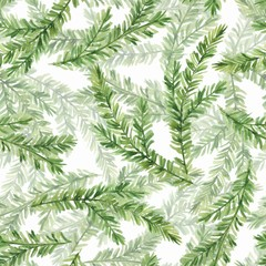 Watercolor seamless pattern with fir tree branches 1