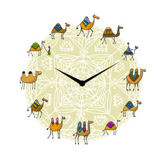 Clock with camels design