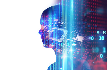 silhouette of virtual human on abstract technology 3d illustration