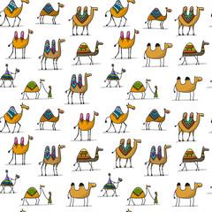 Camels caravan, seamless pattern for your design