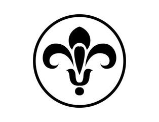 Black Circle Fleur De Lis Illustration Logo Symbol