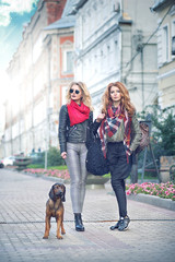 Two stylish girls a redhead and a blond standing on the street with a dog on a leash breed Bavarian hound