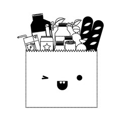 kawaii paper bag with market of food and drinks in black dotted silhouette
