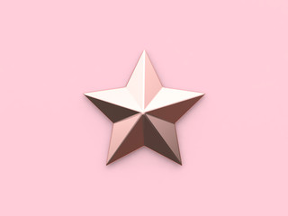 pink star christmas holiday concept 3d rendering pink background