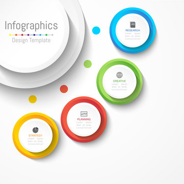 Infographic design elements for your business data with 4 options, parts, steps, timelines or processes. Circle round concept, Vector Illustration.