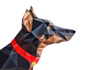 多角形で出来た抽象的な犬