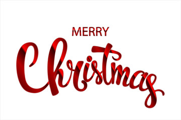 Inscription merry christmas red handwritten lettering inscription holiday phrase, typography banner with brush script, calligraphy vector illustration