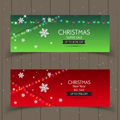 Banner christmas sale . Set of vector design elements.