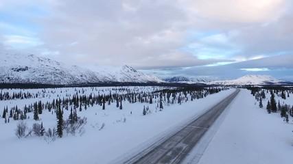 Wall Mural - Frozen Alaska Highway Elevate Up Winter Freeze Denali Range