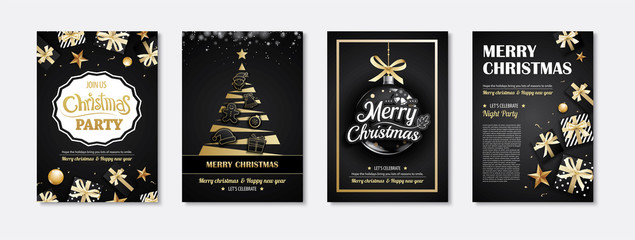 Merry christmas greeting card and party invitations on black background. Vector illustration element for happy new year design.