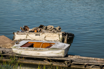 small boat on the dock