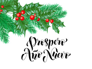Prospero Ano Nuevo Spanish Happy New Year calligraphy hand drawn text on holly wreath ornament for greeting card background template. Vector Christmas tree branch decoration premium white design