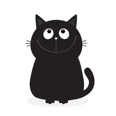 Black kitten cat looking up. Cute cartoon funny character. Kawaii animal. Face with eyes, moustaches, nose, ears, tail. Love Greeting card. Flat design. White background. Isolated.
