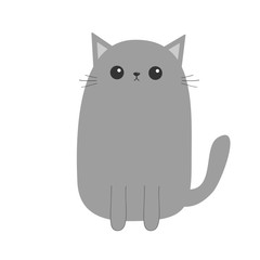 Gray cat kitten. Cute cartoon kitty character. Kawaii animal. Funny face with eyes, moustaches, nose, ears. Love Greeting card. Flat design. White background. Isolated.