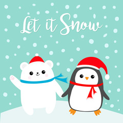 Let it snow. Kawaii Penguin bird Polar white bear cub. Red Santa Claus hat, scarf. Cute cartoon baby character. Merry Christmas. Flat design Winter blue background with snow flake. Greeting card.