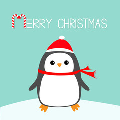 Merry Christmas Candy cane text. Kawaii Penguin bird on snowdrift. Red Santa Claus hat, scarf. Cute cartoon baby character. Flat design Winter blue background. Greeting card.