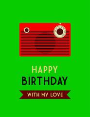 cute radio happy birthday greeting card vector