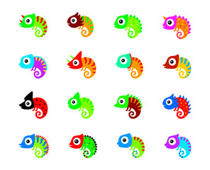 cute chameleon vector collection