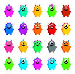 Door stickers Monster cute monster vector colelction