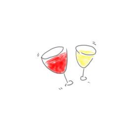 ワインで乾杯!赤ワイン、白ワインの入ったグラス、オシャレなゆるいイラスト