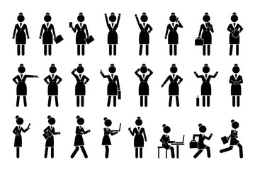 Set of Icons Business Woman Vector Illustration