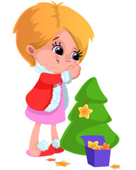 Bright cartoon Christmas, New Year clipart in vector. Funny and smiling girl decorating Christmas tree with stars.