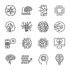 Simple set of artificial intelligence related line icons contains such icons as droid, eye, chip, brain. Editable Stroke.