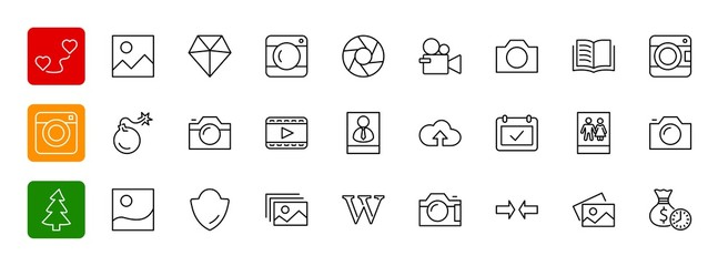 Set of cameras and photo, vector line icons. Contains symbols of