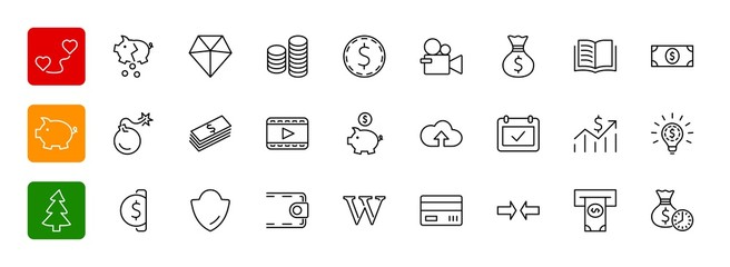 Set of Money Related Vector Line Icons. Contains such Icons as M