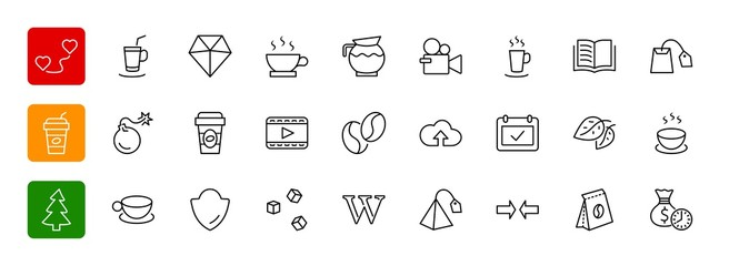 Set of Coffee and Tea Vector Line Icons. Contains such Icons as