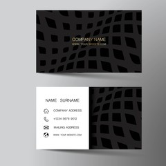 Modern business card template design. With inspiration from the abstract. Contact card for company. Two sided black and white . Vector illustration.