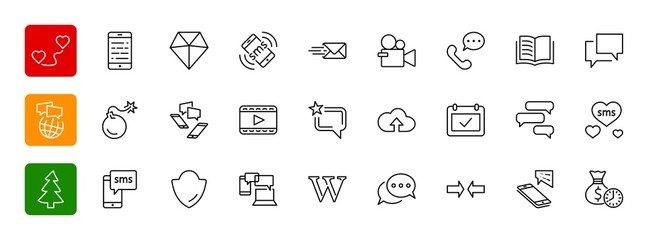 Set of Message Vector Line Icons. Contains such Icons as Convers