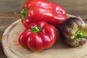 Red and purple sweet pepper