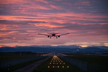 夕陽と飛行機 #2