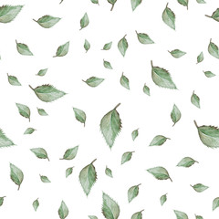 Bright watercolor pattern with leaves.