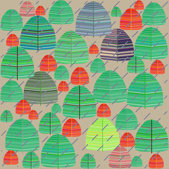 Seamless pattern of colorful autumn forest in the rain Doodle, Scandinavian style.