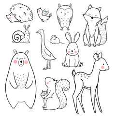 Baby animal vector set