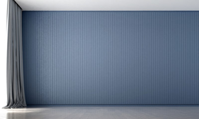 The empty loung and living room and blue wall background texture