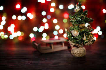 fir-tree on wooden Christmas background