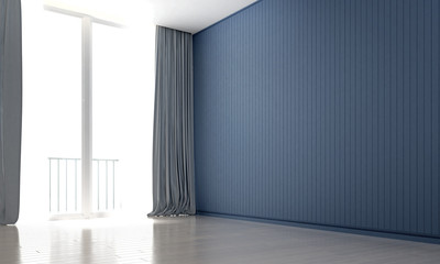 The empty loung and living room and blue wood wall background texture