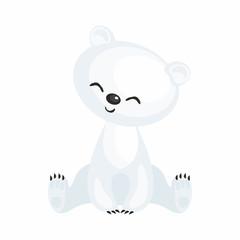 The image of a cute cartoon polar bear. Vector illustration.