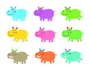cute hippo vector