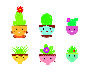 cute happy family cactus plant vector