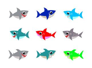 cute baby shark vector vector collection