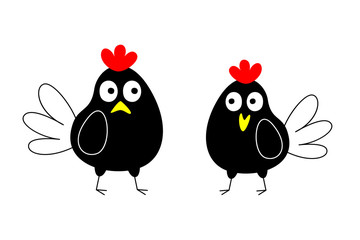 cute hen and rooster couple valentine greeting