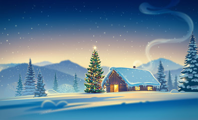 Papiers peints Bleu nuit Forest landscape with winter house and festive christmas trees. Raster illustration.