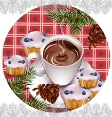 Hot chocolate and muffins on vintage background Vector. Pourring drink. French style decors