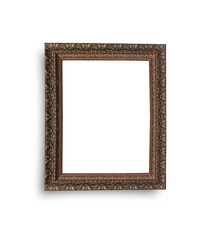 old wooden frame isolated on white background, this has clipping path.