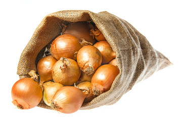 a sack with onion isolated on a white background
