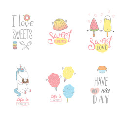 Set of different hand drawn sweet food doodles, with kawaii cartoon faces, typography elements. Isolated objects on white background. Design concept dessert, kids, greeting card, motivational poster.